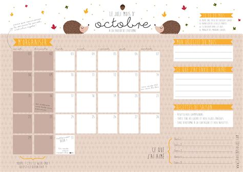 Calendrier Selles Calendrier Du Mois D Octobre 224 Imprimer La Vie En Plus Joli