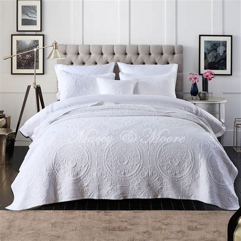 macey baroque white coverlet set suits all sizes