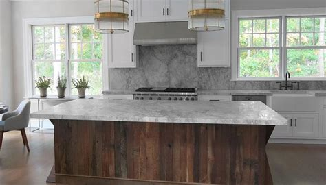 Marble Topped Kitchen Island kitchen with salvaged wood island contemporary kitchen