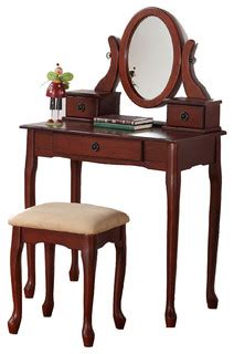 marquis cherry wood makeup vanity table with mirror and queen anne dainty make up table vanity set 3 drawer oval