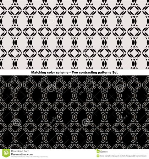 scheme pattern matching library contrasting patterns set stock vector image of different