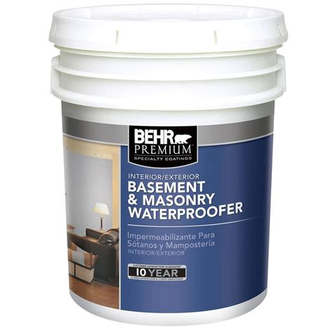 basement wall waterproofing paint behr premium 5 gal basement and masonry waterproofing
