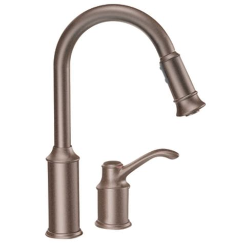 rubbed bronze kitchen faucets moen 7590orb aberdeen one handle high arc pulldown kitchen