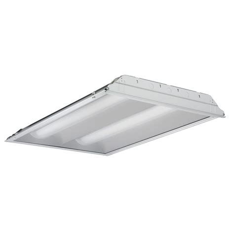 Troffer Light Fixtures Lithonia Lighting 4 Ft 2 Light Fluorescent Volumetric T5 Troffer 2rt5s 28t5 Mvolt Geb95 Lpm835p