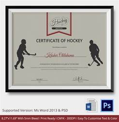 Hockey Certificate Template   9  Free Word, PDF Documents