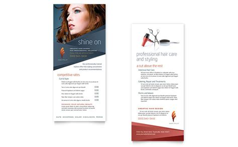 hair stylist templates hair stylist salon rack card template design