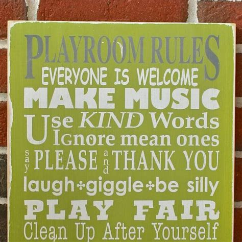 whimsical playroom rules distressed sign typography word