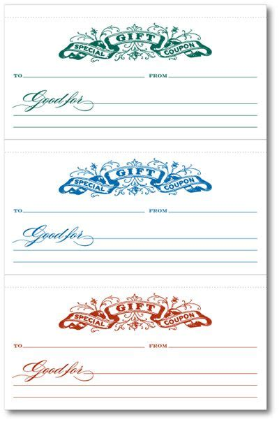 gift coupons printables pinterest