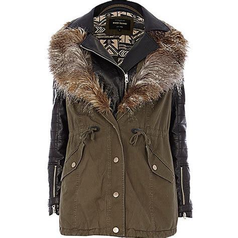 1 Parka Jacket Merah khaki 2 in 1 leather look parka jacket coats jackets sale