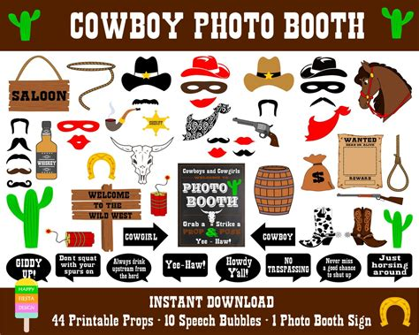wild west printable photo booth props cowboy photo booth props55 pieces44 props10 by
