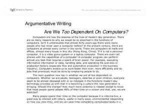 Argumentative Essay Introduction Exles by Argumentative Writing Are We Dependent On Computers Gcse Marked By Teachers