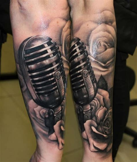 microphone tattoo on arm lower arm microphone with roses tattoo by riccardo cassese