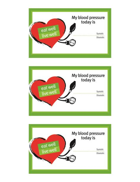 blood pressure cards blood pressure tracking card