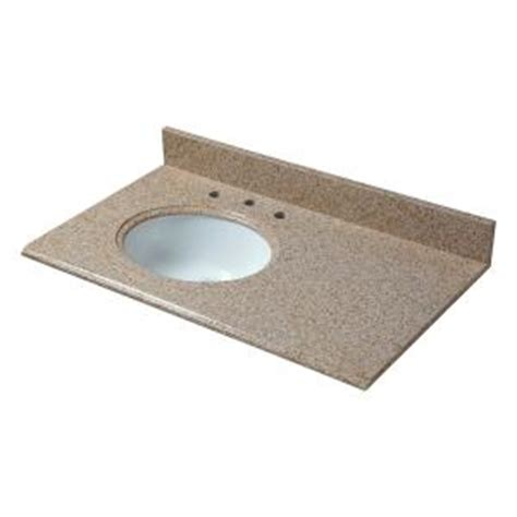 offset bathroom vanity tops pegasus 37 in w granite vanity top in beige with offset