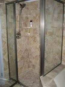 completed porcelain tiled shower with marble corner
