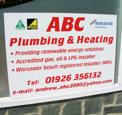 Abc Plumbing And Heating by Site Boards Sign Makers Signage Leamington Spa Warwick
