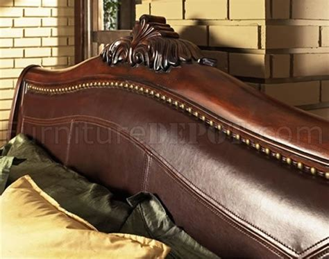 distressed cherry finish classic bedroom wsleigh bed leather