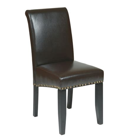 eco dining chairs ospdesigns espresso eco leather parsons dining chair