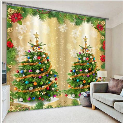 christmas window curtains 3d christmas curtains for living room blackout curtains