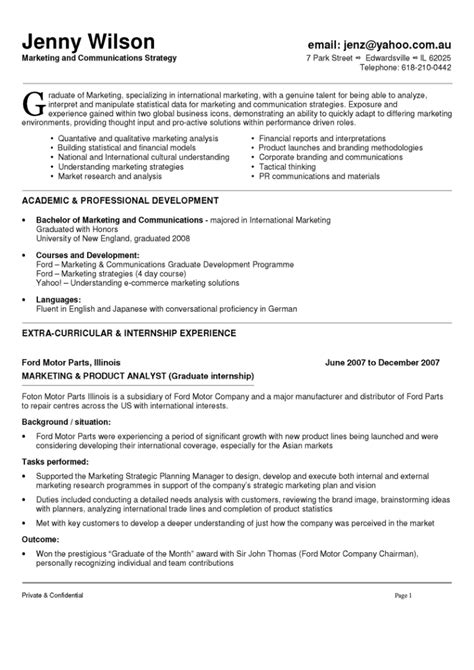 Resume Sle Marketing Graduate sales and marketing specialist sle resume demonstrator cover letters