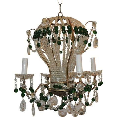 Pair Of Emerald Green Beaded Crystal Hot Air Balloon Balloon Chandelier