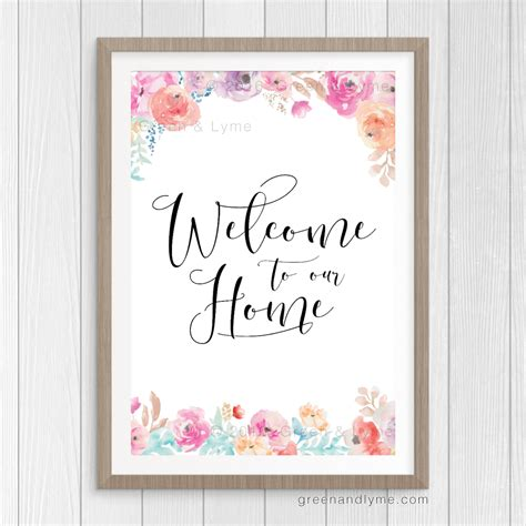 printable art for home welcome to our home printable wall art 183 green lyme