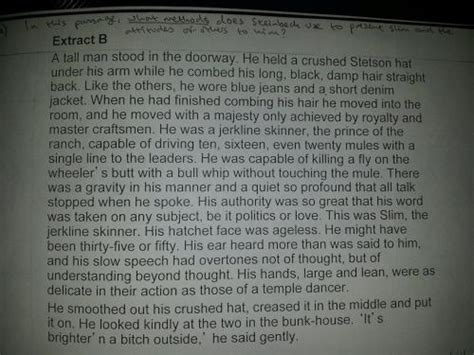 Of Mice And Slim Essay by In The Attached Passage From Of Mice And What Methods Does Steinbeck Use To Present Slim