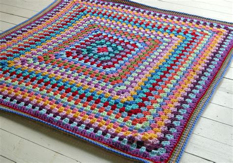 Square Afghan Blanket by Sublime Crochet Afghan Blanket Rainbow Colors Square