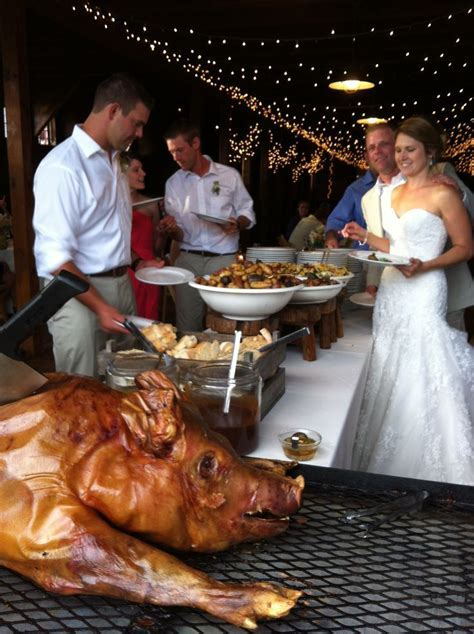 A great way to celebrate a wedding  a pig roast!   Food