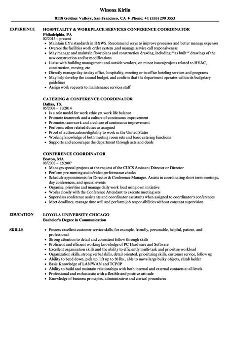 Conference Services Coordinator Resume by Conference Coordinator Resume Sles Velvet