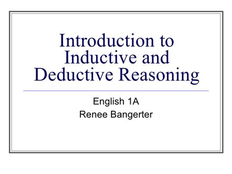 Deductive Reasoning Essay by Inductive Essay Exle