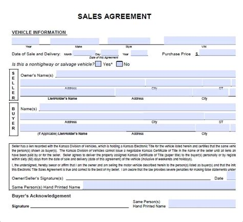 6 Free Sales Agreement Templates Excel Pdf Formats As Is Sales Contract Template