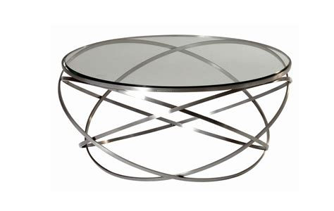 Coffee Table: Round Metal and Glass Coffee Table with Shelf Contemporary Coffee Tables Glass