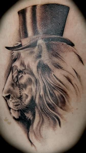 white lion tattoo white black