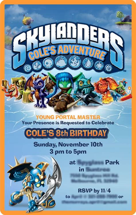 skylander birthday card template skylanders invitation skylander