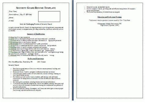 curriculum vitae sle for security officer security guard resume template free word templates