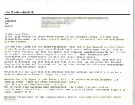 dankesschreiben an kollegen facelifting kollegin operiert in m 252 nchen dankesschreiben sch 246 nheitsklinik dr funk