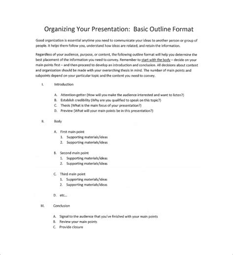 9 Presentation Outline Templates Free Premium Templates Business Presentation Outline Template