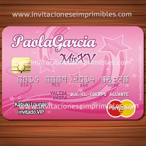 tarjetas de quince anos invitacion imprimible tarjeta de credito 15 a 241 os
