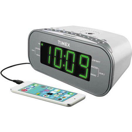 timex dual alarm clock am fm radio white walmart