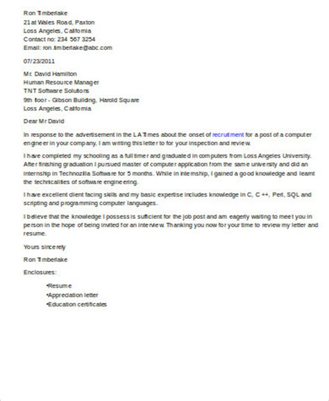 cover letter for software engineer sle software engineer cover letter 8 exles in