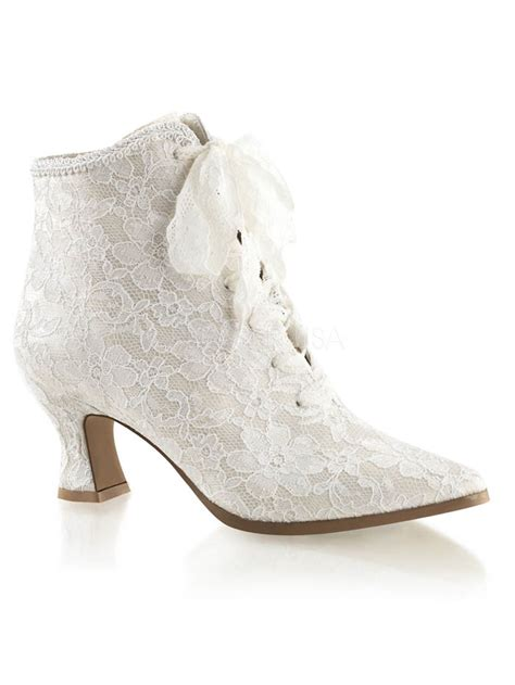 White Wedding Boots by White Lace Satin Style Lace Up Bridal Boots