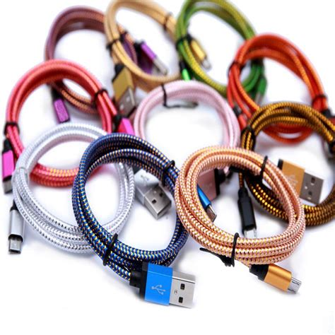 Aluminium Alloy Braided Usb Cable For Smartphone Hitam 100 Cm 1 1m 2m 3m wave braided aluminum usb charger cable