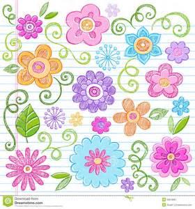 Easy Floral Designs sketchy flowers notebook doodles vector set royalty free