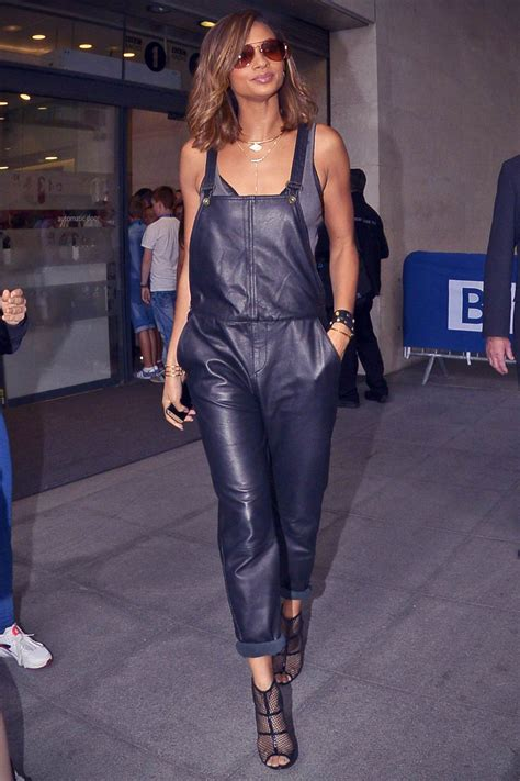 alesha dixon at radio one studios leather