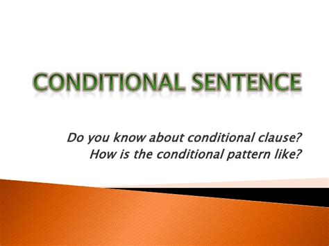 the pattern of conditional sentences conditional sentence