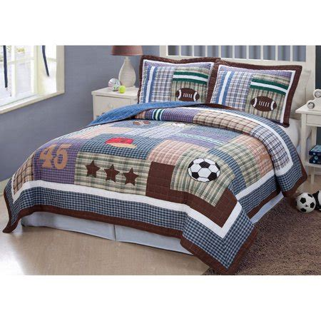 comforter sets for softball field of sports bedding quilt set blue walmart