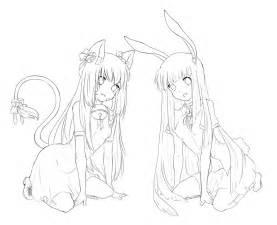 cat and bunny free lineart by jillmeru on deviantart