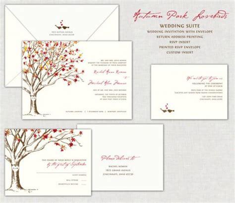 wedding invitations with birds autumn park lovebirds wedding invitation invitations
