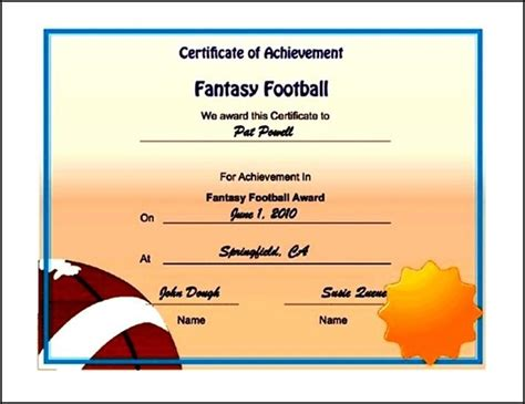 printable football certificates uk template sle templates